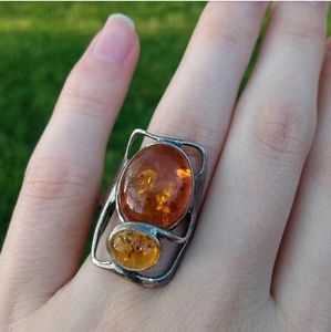 Vintage silver and amber ring